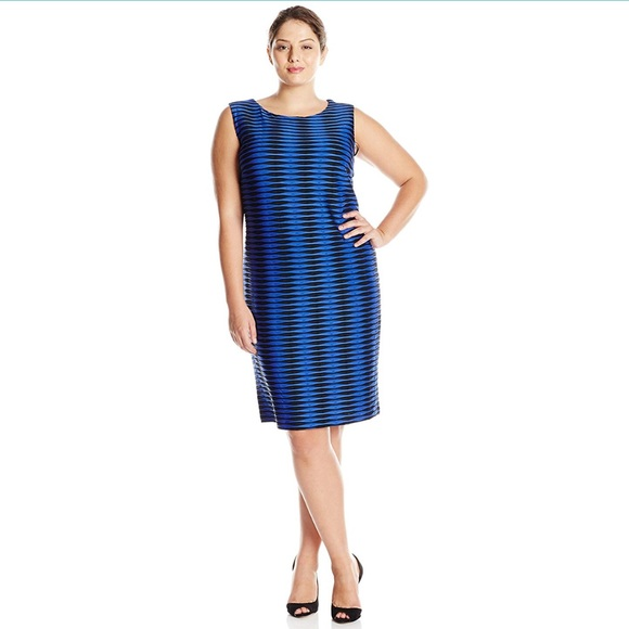 Calvin Klein Plus Size 20W Career Blue Dress